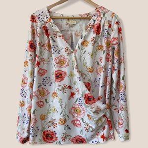 ModCloth long sleeve floral blouse size medium
